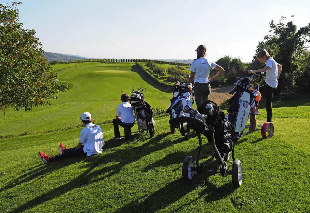 <BZ-FotoAnlauf>Gewonnen</BZ-FotoAnlauf...en die Angells das Golf-Bundesfinale.     Foto: Schule