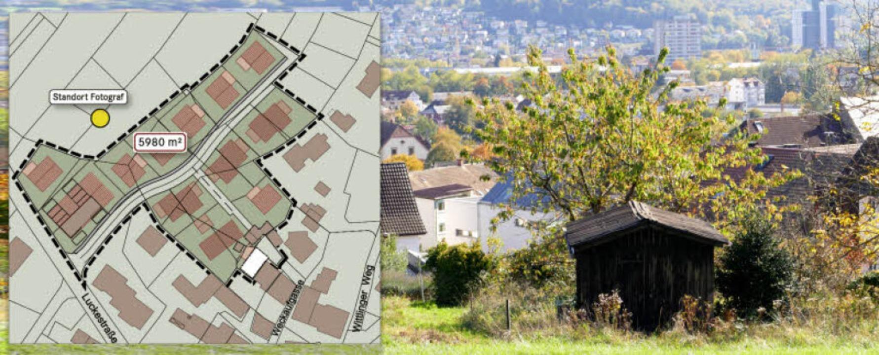 Das gekennzeichnete Gebiet nördlich de...echts) und Hünerberg (Mitte hinten).    | Foto: Grafik: BZ/RE, Quelle: Stadtbau Lörrach, Foto: Peter Gerigk