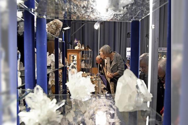 Mineralien und Fossilien auf der Messe