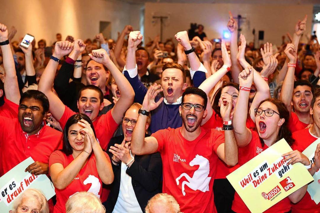Wann hat man Sozialdemokraten zuletzt ...ag in Hannover außer sich vor Freude.     Foto: dpa