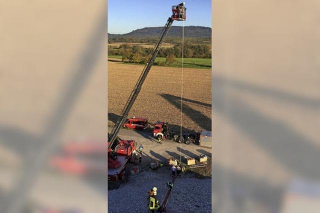 Rettungseinsatz im Kieswerk in Schuttern