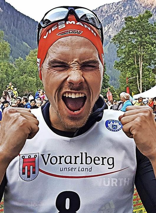 Siegerschrei: Beim Sommer-Grandprix in...r Vorbereitung auf den Olympiawinter.   | Foto: zvg