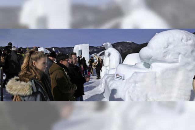 Schneeskulpturen und ein Labyrinth