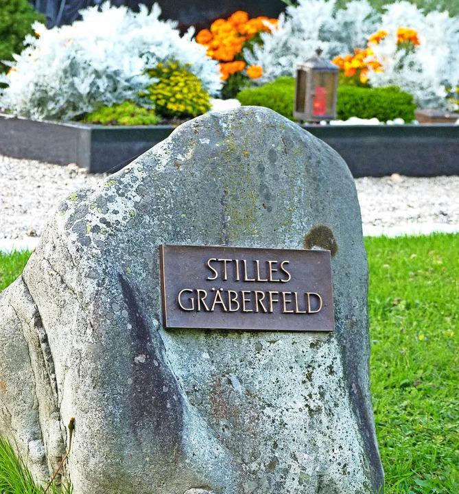 Auf dem Findling am stillen Gräberfeld stehen keine Namen.  | Foto: Dirk Sattelberger