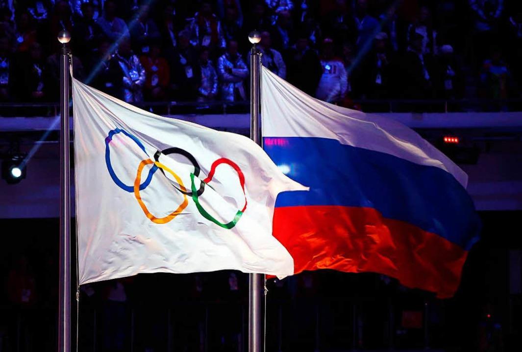 Die russische Flagge bei Olympia polarisiert die Sportwelt.    Foto: Hannibal Hanschke