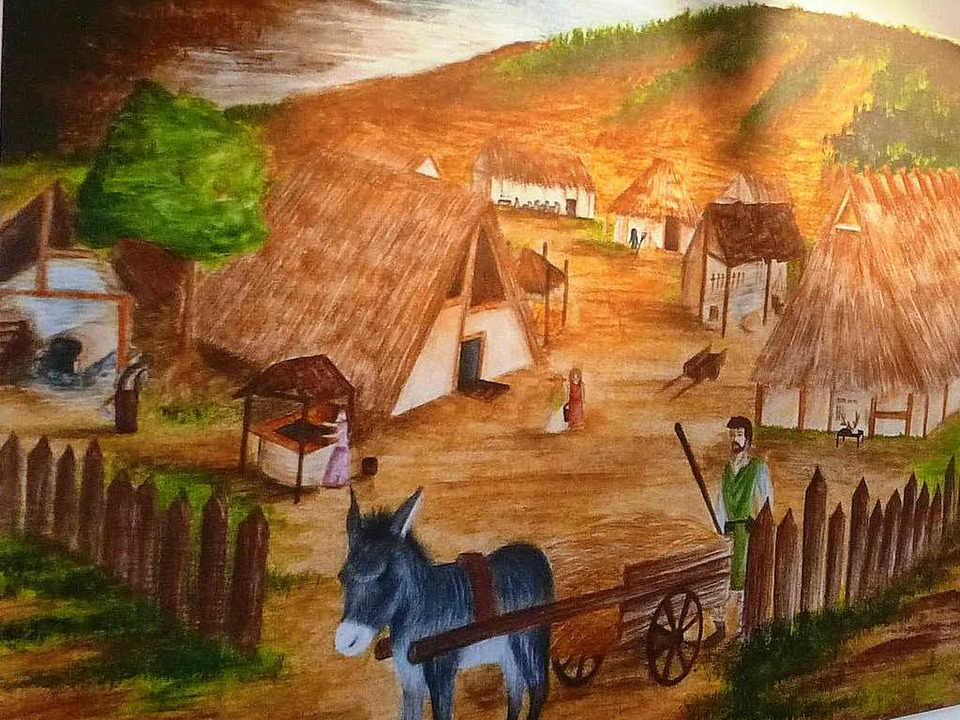 Sarah Klein hat Haltingen für die Ausstellung als Alamannen-Dorf gezeichnet.  | Foto: zvg