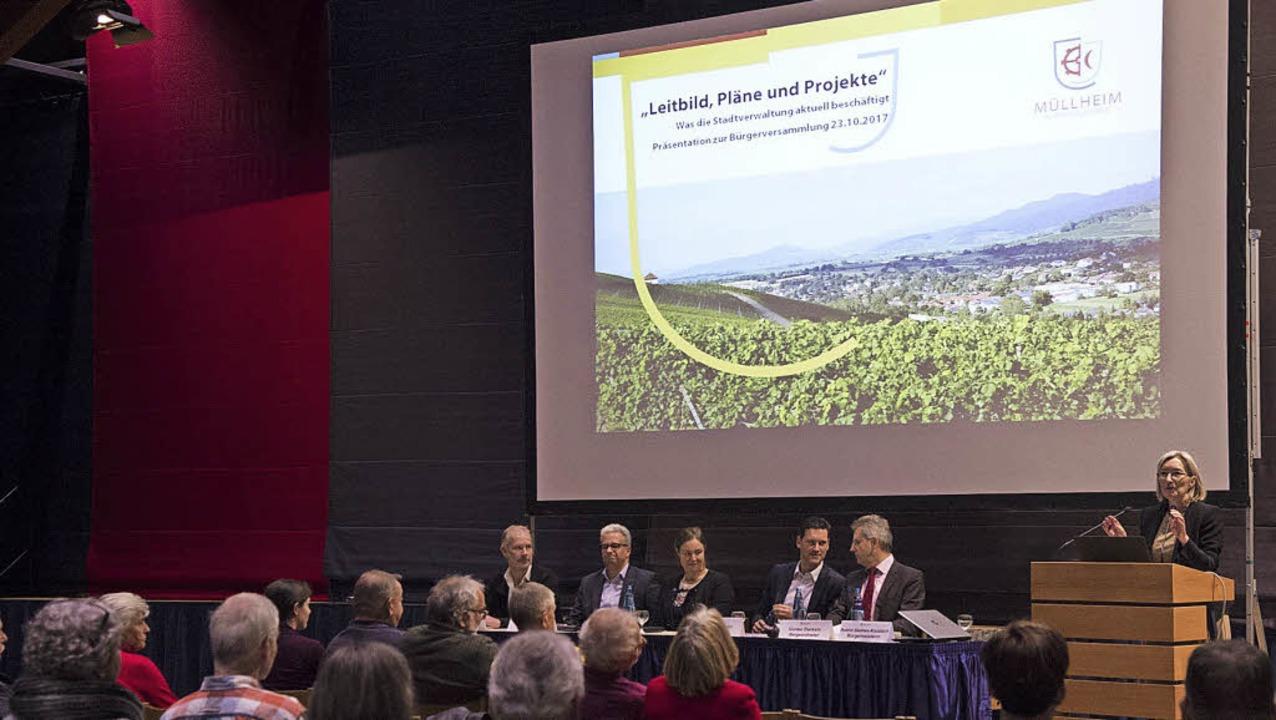 Beim Bürgerdialog informierte die Stad...ung über die Entwicklungen Müllheims.   | Foto: Volker Münch