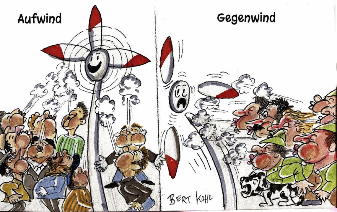 Münstertal im Windkanal: So sieht BZ-K...Bert Kohl die polarisierende Debatte.   | Foto: Karikatur: Bert Kohl