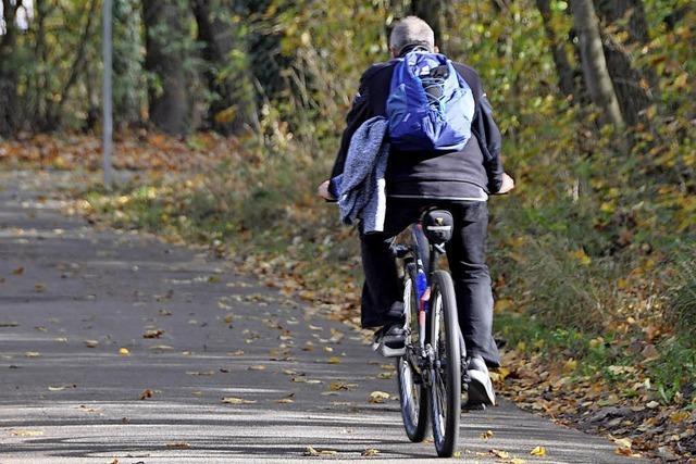 Seile über den Radweg gespannt