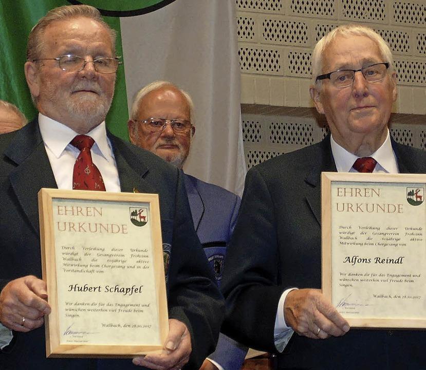 Für 60 Jahre aktives Singen im Chor wu...pfel (links) und Alfons Reindl geehrt.  | Foto: Michael Gottstein