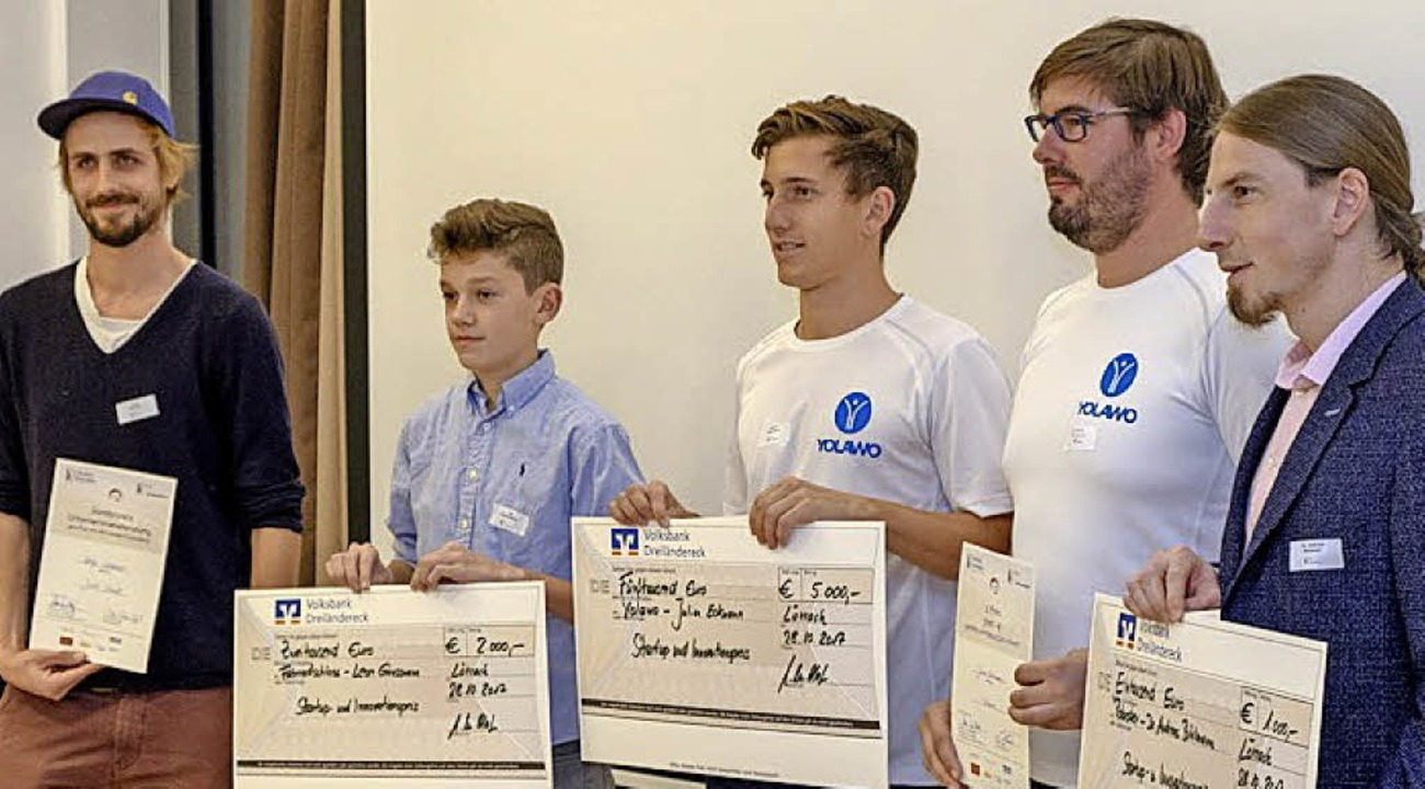 Die Preisträger: Helge Straube, Leo Gr...derik Strelczuk und Andreas Bihlmaier   | Foto: Netzwerk Lörrach Innovativ