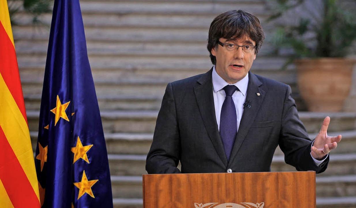 Puigdemont im Regionalfernsehen    Foto: afp