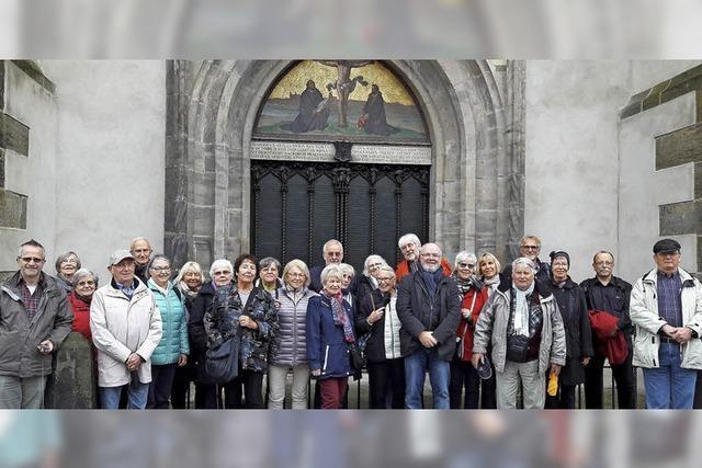 Vor der Schlosskirche in Wittenberg