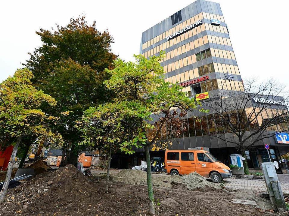 Für den geplanten Abriss müssen die Bäume rund um die alte Volksbank weichen.  | Foto: Ingo Schneider