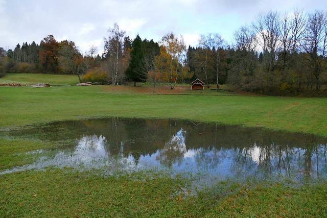 Der Eichener See kündigt sich nach Regenfällen an
