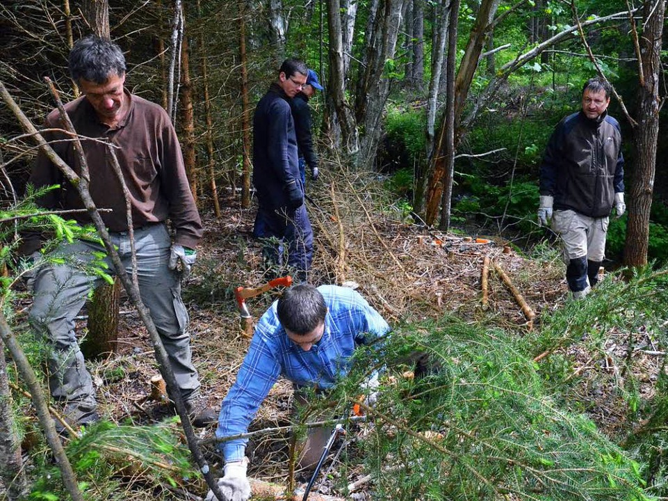 Freiwillige packen im Wald an.  | Foto: Sebastian Barthmes