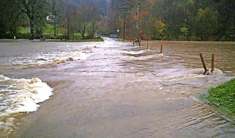 Hochwasser in Langenau am 12. November 2017.    Foto: Nicolai Kapitz