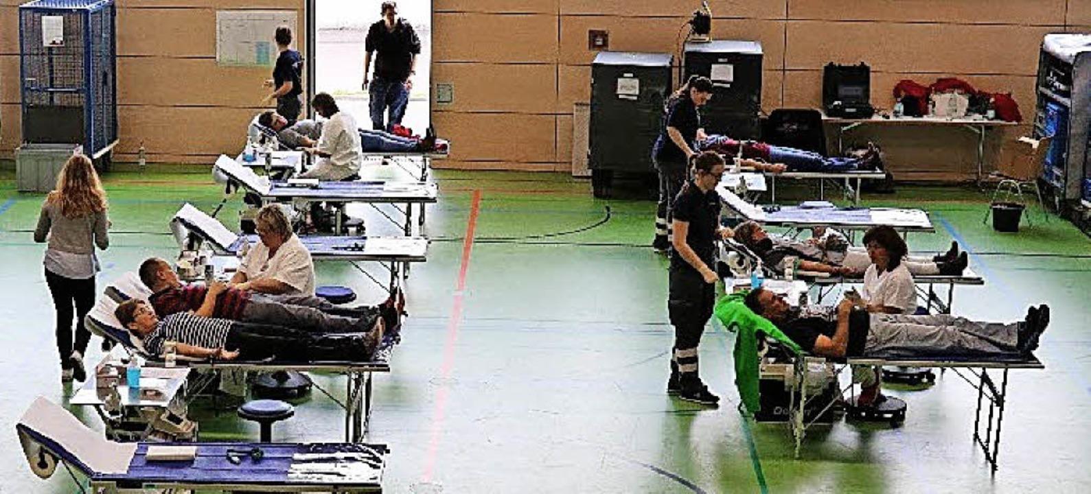 <BZ-FotoAnlauf>Blutspenden in Zell:</B...auplatz der Blutspendeaktion des DRK.   | Foto: Privat