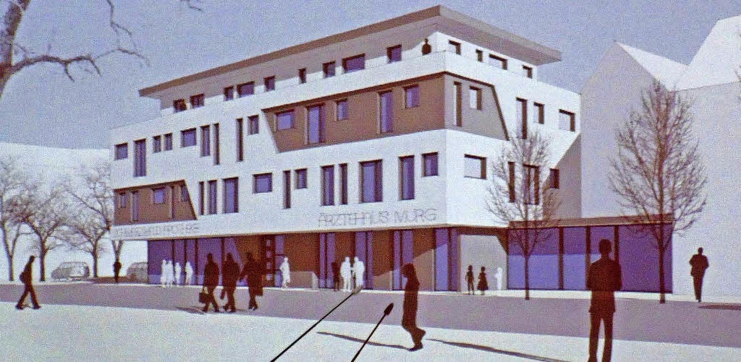 Ein prägendes Gebäude zu werden verspr...haus am Standort des alten Rathauses.   | Foto: Plan: Architekturbüro Männer/Repro: Michael Gottstein