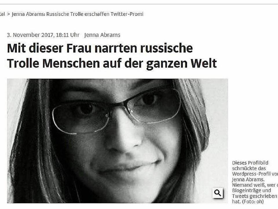 Die Süddeutsche Zeitung berichtete  über die Fake-Figur Jenna Abrams.  | Foto: pppp