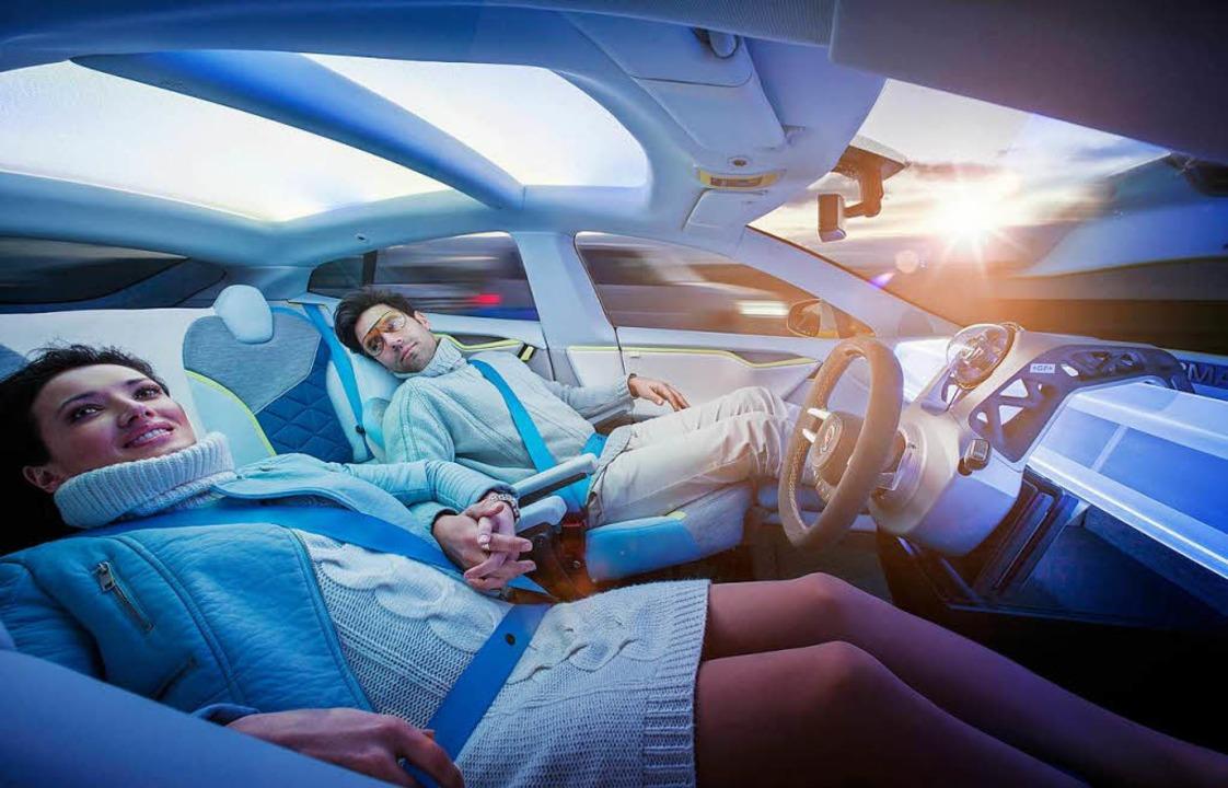 Völlig entspannt reisen – das ist das Versprechen des autonomen Autos.  | Foto: Rinspeed