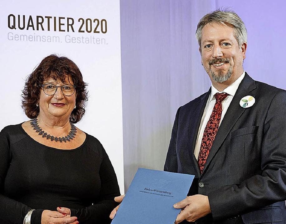 Staatssekretärin Bärbl Mielich mit Lahrs Bürgermeister Tilman Petters     Foto: Ministerium