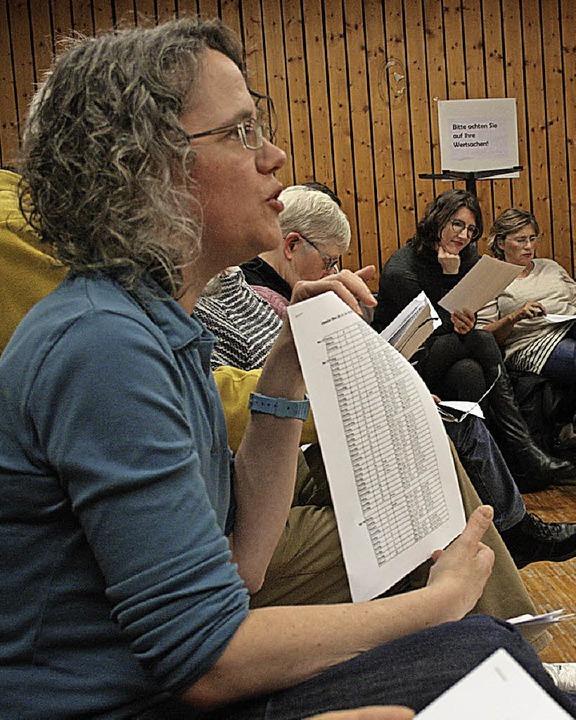 Die Leiterin des Projekts, Christine Feld, erklärt den Leseplan.    Foto: Elisabeth Weniger