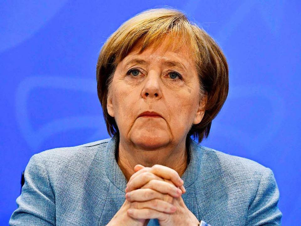 Angela Merkel beim Dieselgipfel in Berlin.    Foto: AFP