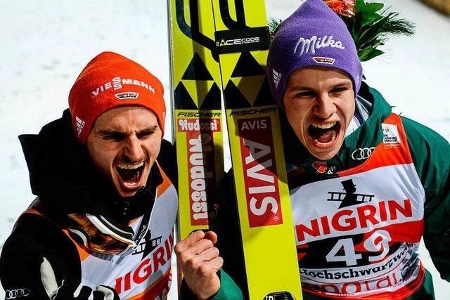 Skispringer Richard Freitag gewinnt vor Andreas Wellinger in Titisee-Neustadt