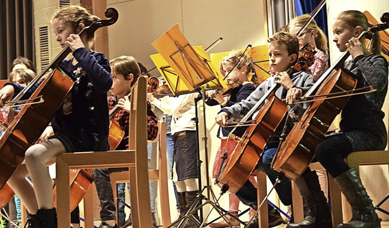Geigen, Bratschen, Celli und Kontrabäs...hne in der Aula der Wild-Grundschule.   | Foto: Beatrice Ehrlich
