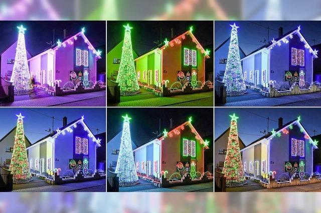 Die Weihnachtsshow eines Einfamilienhauses