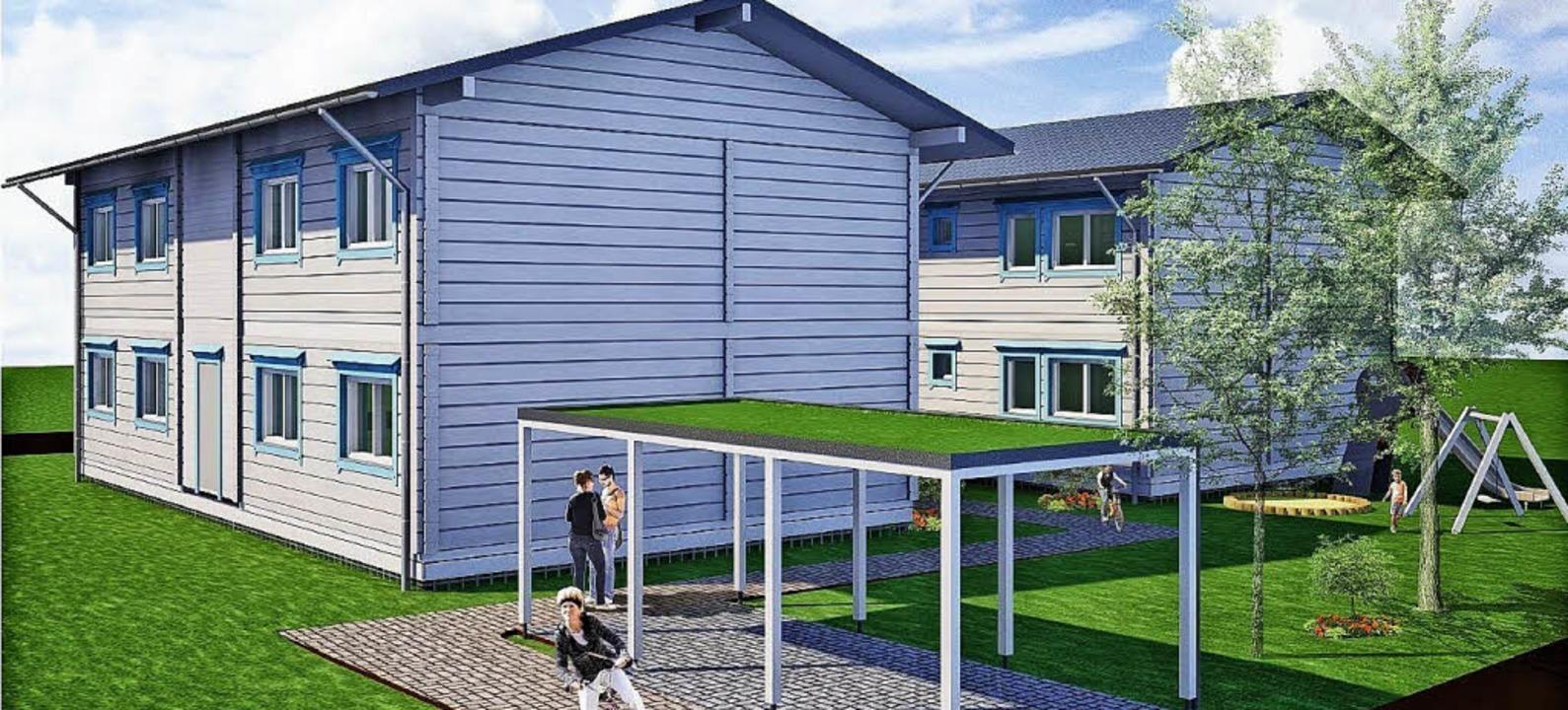 Holzhäuser mit hellblauen Fensterrahme...en die Unterkünfte in Stegen aussehen.  | Foto: HONKA Service Center Süd