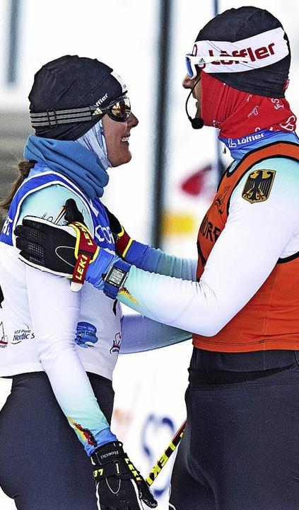 Glücklich über Platz zwei beim Weltcup...und Begleitläufer Florian Schillinger   | Foto: Pam Doyle