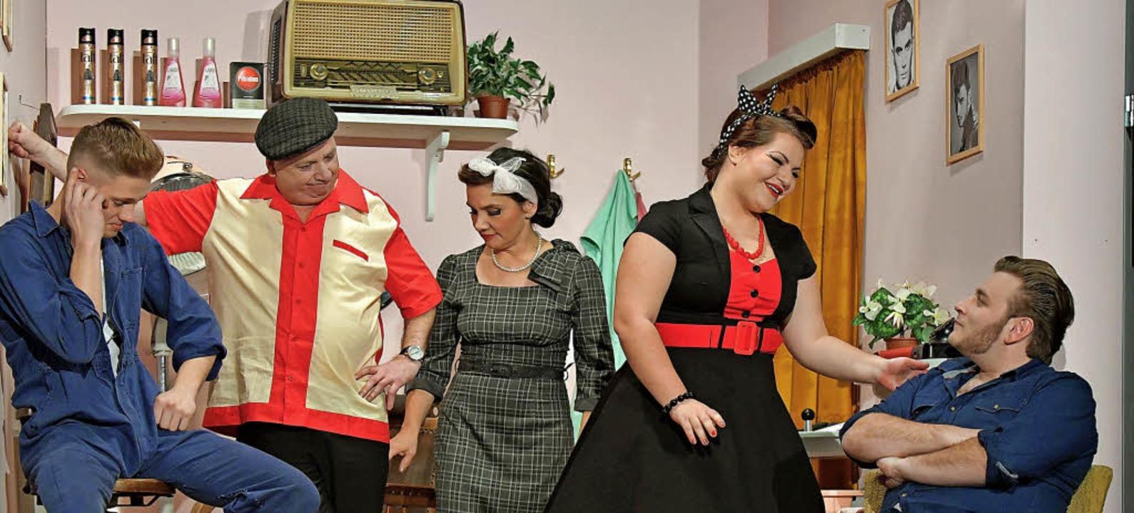 Die neue Komödie Wob-Baba-Luba der Lai...uela Diemand als Berta Glanz (Mitte).     Foto: Wolfgang Scheu