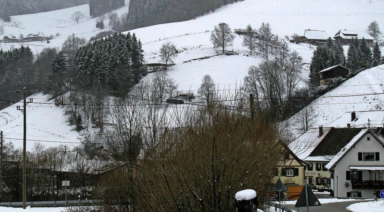 Der Standort des geplanten Mobilfunk-S...s) und den Gstiehlhöfen (ganz rechts)     Foto: Manfred Lange