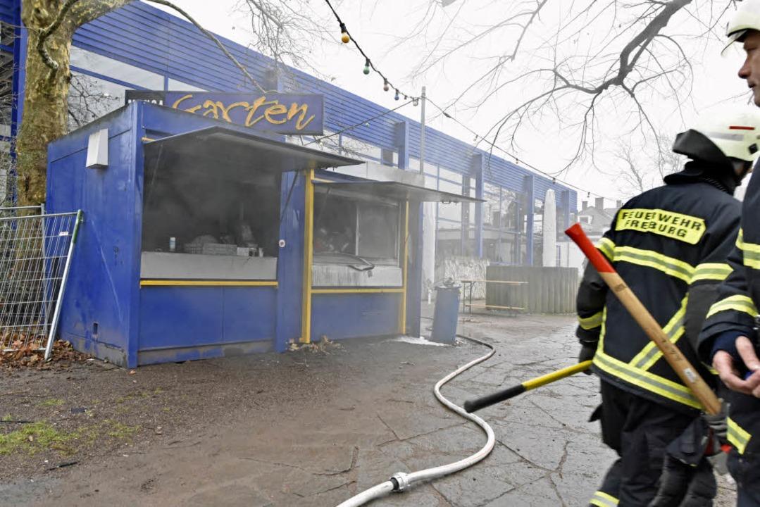 Die Feuerwehr war im Mensagarten im Einsatz.  | Foto: Michael Bamberger