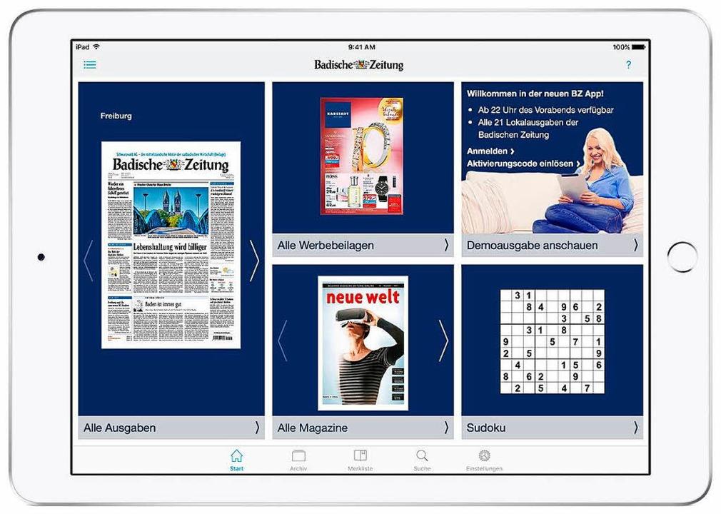 Neben der digitalen Zeitung  bietet di...eilagen mit Tipps für Sonderangebote.     Foto: bz