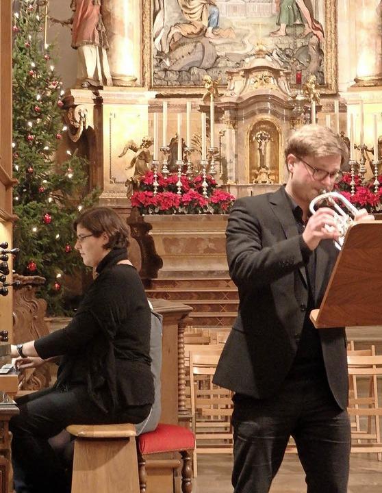 Ergänzten sich in St. Trudpert musikal...gel und Frieder Reich an der Trompete   | Foto: Bianca Flier