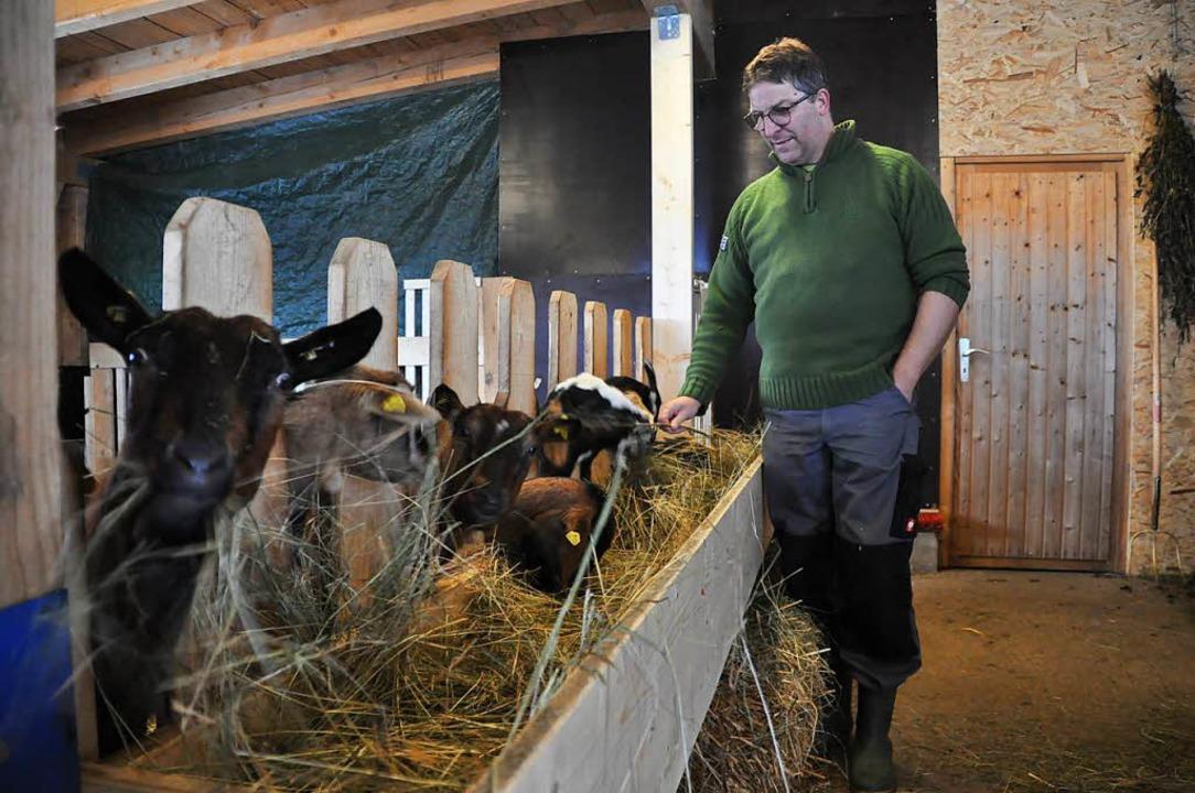 Ewald Klingele im Stall bei seinen Ziegen.    Foto: Nicolai Kapitz