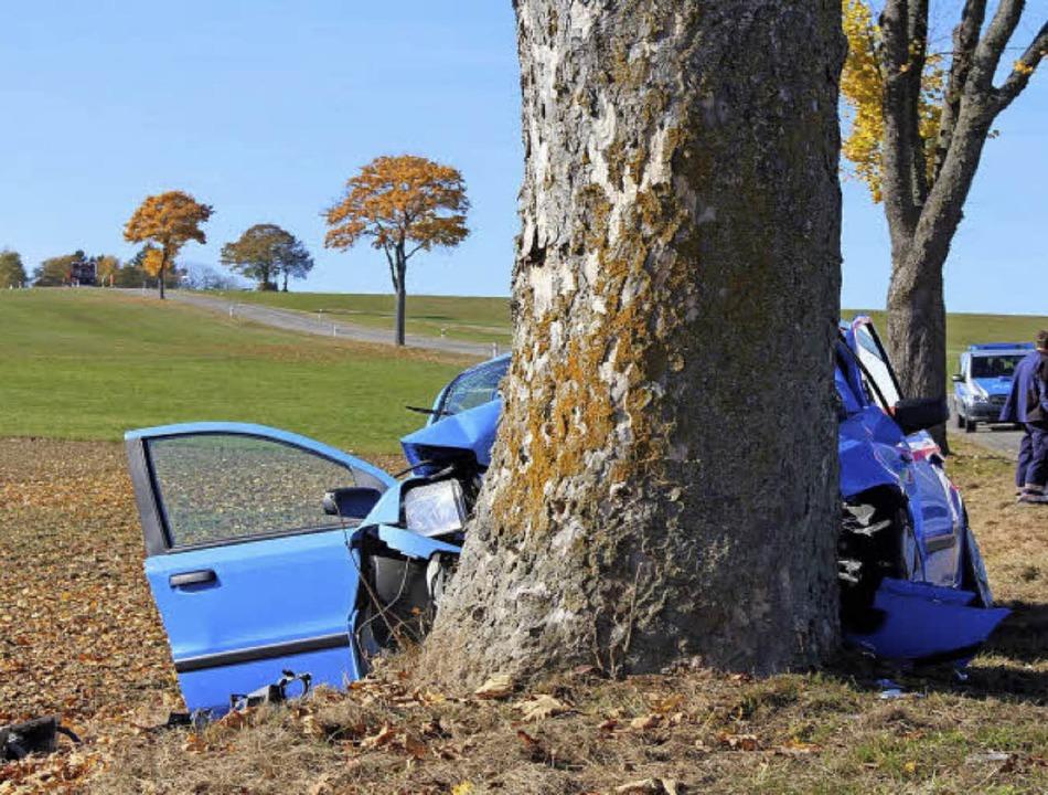 Tödlich endete im Oktober dieser Unfall bei Löffingen für den Fahrer.  | Foto:  M. GANZ