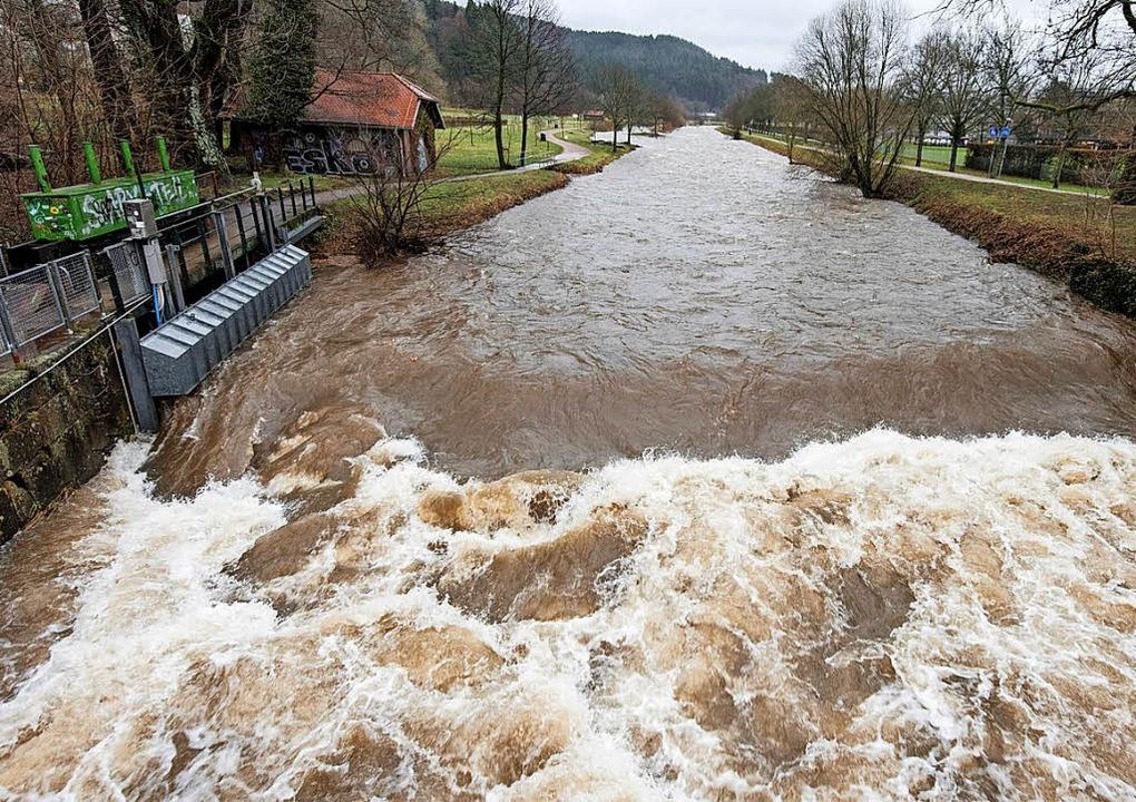 Bilder, wie man sie vom Sturm Lothar a...: die Dreisam am Sandfang in Freiburg.    Foto: fotos: dpa