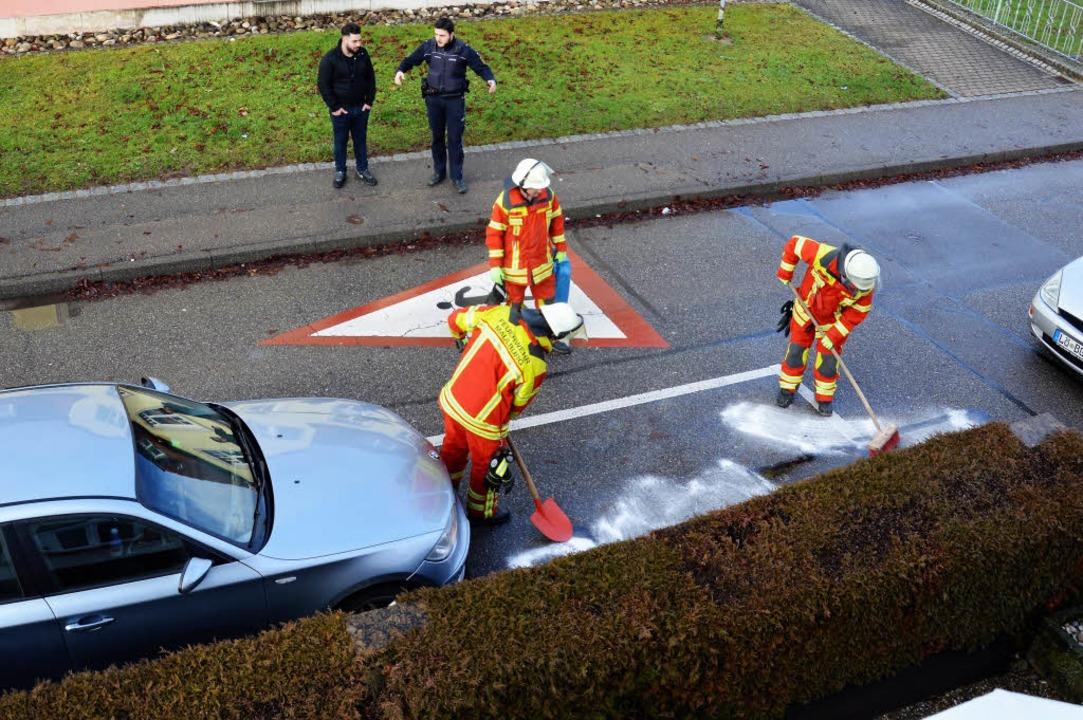 Ölverlust: MaulburgsFeuerwehr musste a...ubben. Dort hatte ein Auto Öl verloren    Foto: Georg Diehl