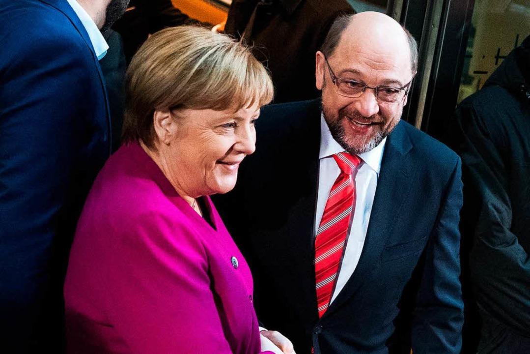 Kanzlerin  Merkel und SPD-Chef Schulz    Foto: dpa