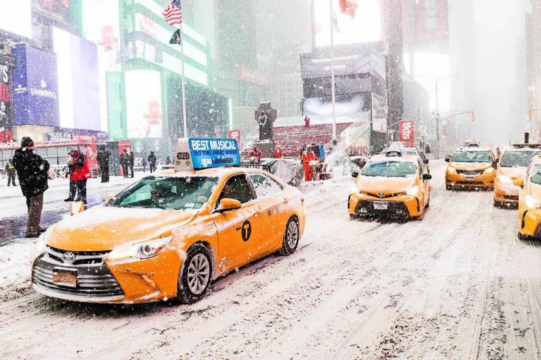 Auch am Times Square in New York ist es in diesen Tagen eisig.    Foto: dpa