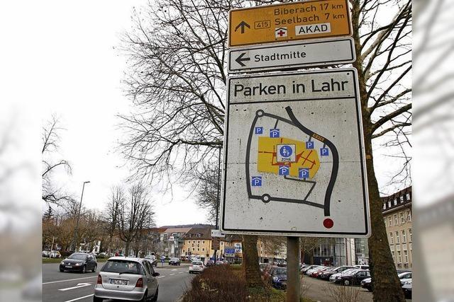 Punkte führen zum Parkplatz