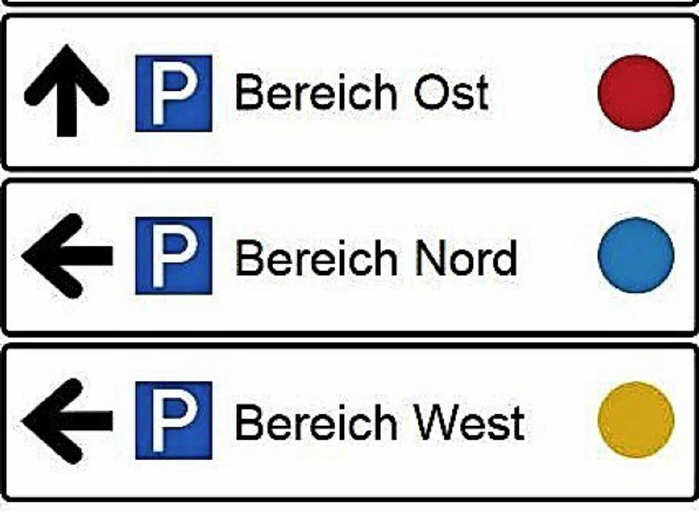 Farbige Punkte weisen im neuen Leitsystem den Weg.   | Foto: Stadt Lahr