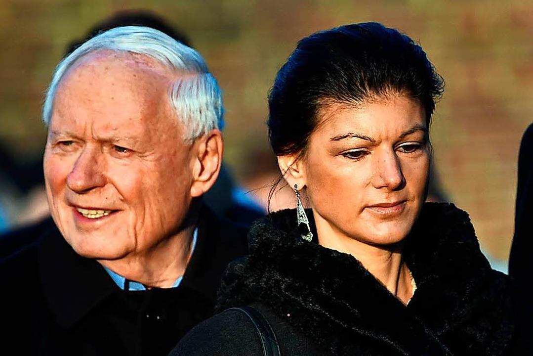 Sahra Wagenknecht und ihr Mann Oskar Lafontaine.  | Foto: dpa