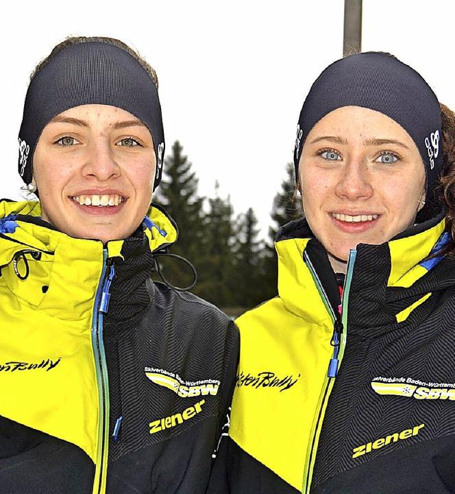 Auf dem Podest in Schönwald: Sophia Weiß (links) und Carina Gutmann   | Foto: Junkel