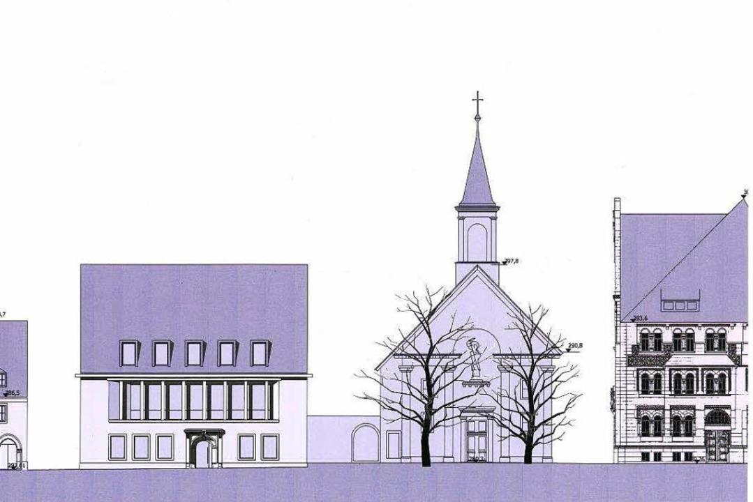 Entwurf des Neubaus, rechts daneben  die Seminarkirche  | Foto: Erzdiözese