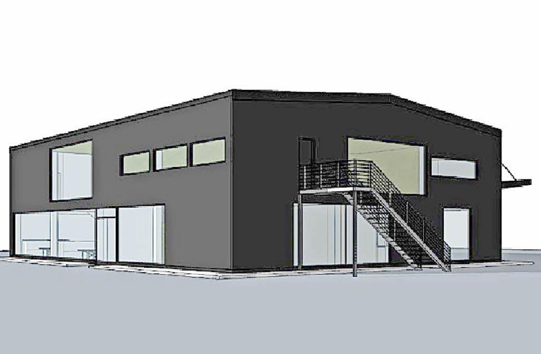 Als schwarzer Kubus soll das Gründerzentrum Baden-Campus gestaltet werden.   | Foto: Entwurf: Weissenrieder Architekten/ Badenova